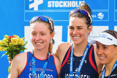 STOCKHOLM - AUG, 24: The three medalists Gwen Jorgensen, Non Sta Royalty Free Stock Images