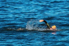 STOCKHOLM - AUG, 25: Warm up swimming by Joao Pereria (POR) in t Royalty Free Stock Image