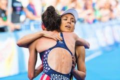 STOCKHOLM - AUG, 24: The winner Gwen Jorgensen hugging Anne Haug Royalty Free Stock Image