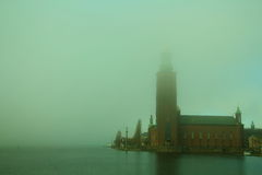 Stockholm avec le brouillard Photographie stock libre de droits