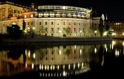 Stockholm bij nacht Stock Fotografie