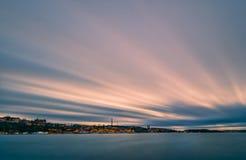 Stockholm bij zonsondergang Stock Afbeeldingen
