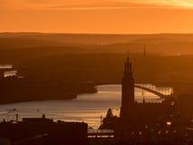 Stockholm bij zonsondergang Stock Foto's