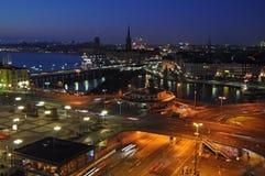 Stockholm bis zum Nacht Stockbild