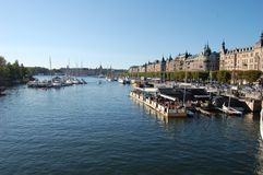 A sunny day in Stockholm, Sweden. Stockholm, the capital of Sweden, encompasses 14 islands and more than 50 bridges on an extensive Baltic Sea archipelago. The Stock Image