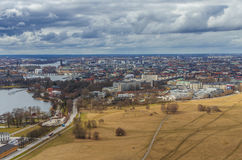 Stockholm city aerial view stock photo