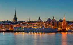 Stockholm city decorated at Christmas. Royalty Free Stock Photography