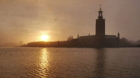 Stockholm city at dusk. In spring stock video