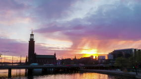 Stockholm city at dusk. In spring stock footage