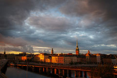 Stockholm city in the evening Stock Images