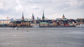 Stockholm city Galma Stan, Old Town from sea Royalty Free Stock Image