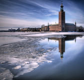 Stockholm city hall. Stockholm city hall in winter stock photography