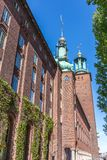 Stockholm City Hall. City Hall of Stockholm Against a Blue Midday Sun Royalty Free Stock Photo