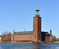 Stockholm City Hall 1923, building of Municipal Council for City of Stockholm Stock Photos