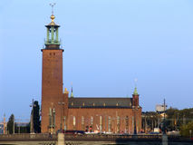 Stockholm City Hall. Is the building of the Municipal Council for the City of Stockholm in Sweden. It is the venue of the Nobel Prize banquet and one of stock photography