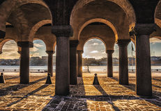 Stockholm city hall columns and shadows Stock Images