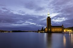 Stockholm City Hall at Dusk Royalty Free Stock Photos