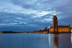 Stockholm City Hall at Dusk. Scenic View of Stockholm City Hall at Dusk With Beautiful Reflections in the Water Stock Images