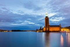 Stockholm City Hall at Dusk. View over Stockholm City Hall at Dusk Stock Photo