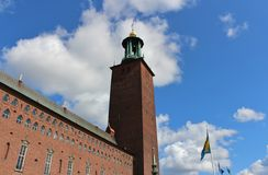 Stockholm City Hall. Is located on the shore of Lake Mälaren. is located on Kungsholmen in central Stockholm. It was inaugurated 1923 Stock Image