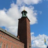 Stockholm City Hall. Is located on the shore of Lake Mälaren. is located on Kungsholmen in central Stockholm. It was inaugurated 1923 Stock Photo