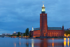Stockholm City Hall at night Royalty Free Stock Photos