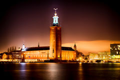 Stockholm City Hall. By night. This is the home of the Nobel Dinner royalty free stock photos