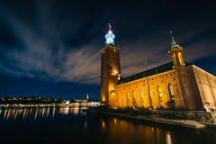 Stockholm City Hall at night, in Kungsholmen, Stockholm, Sweden. Stock Photo