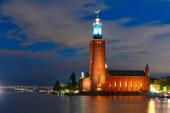 Stockholm City Hall at night, Stockholm, Sweden royalty free stock images