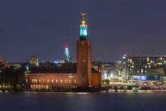 Stockholm City Hall at night, Stockholm, Sweden royalty free stock images