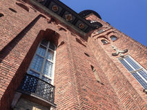 Stockholm City Hall. Perspective with dramatic angle view and architectural details Royalty Free Stock Images