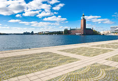 Stockholm city hall and quayside Stock Photo