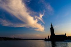 Stockholm City Hall Stadshuset tower at sunset, dusk, Sweden royalty free stock photos