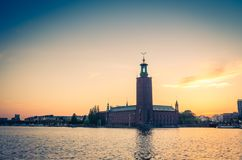 Stockholm City Hall Stadshuset tower at sunset, dusk, Sweden royalty free stock photography