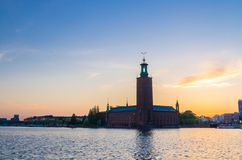 Stockholm City Hall Stadshuset tower at sunset, dusk, Sweden stock photography