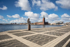 The Stockholm City Hall in Sweden. Seen from the Riddarfolm Island Royalty Free Stock Photo