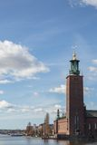 Stockholm City Hall, Sweden. View over Stockholm City Hall with clouds Royalty Free Stock Image