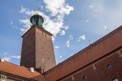 Stockholm City Hall, Sweden. View of the Tower of Stockholm City Hall Royalty Free Stock Photos