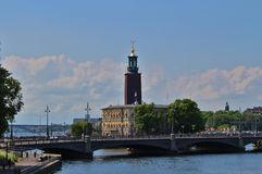 Stockholm City Hall. View towards City Hall from Riksbron Stock Images