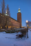 Stockholm city hall winter night Royalty Free Stock Photos