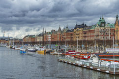 Stockholm city harbour stock image