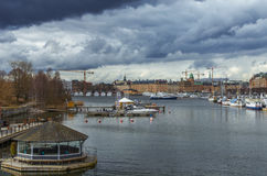 Stockholm city harbour stock photo