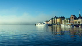 Stockholm city in morning stock footage