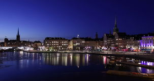 Stockholm city at night, stock video footage