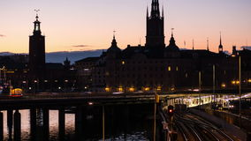 Stockholm city at night stock video footage