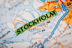 Stockholm City on a Road Map Royalty Free Stock Photography