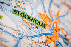 Stockholm City on a Road Map. Map Photography: Stockholm City on a Road Map Stock Photos