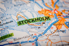 Stockholm City on a Road Map Stock Photos