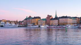 Stockholm city skyline day to night time lapse in Stockholm city, Sweden.  stock footage
