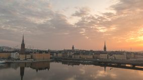 Stockholm Sweden Time Lapse. Stockholm city skyline night to day sunrise timelapse at Gamla Stan and Slussen, Stockholm Sweden 4K Time Lapse stock video